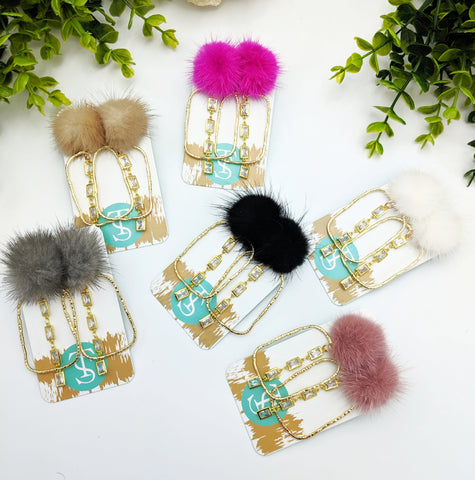 Puff crystal rectangle drops-You pick color