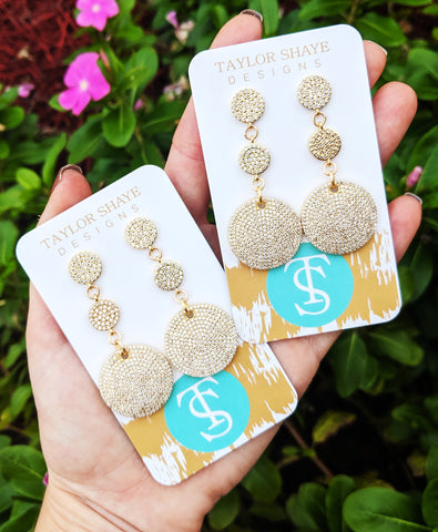Luxe pave disc earrings