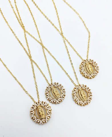 Cz dainty gold filled mother Mary necklace