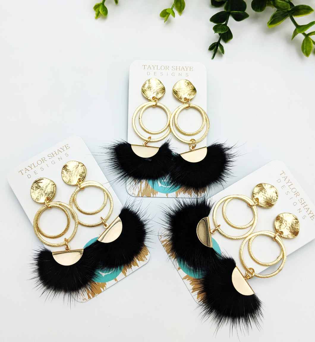 Black Fur Tassel Drops