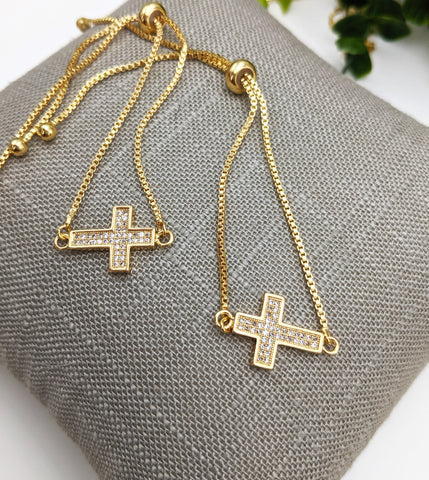 Thin cross adjustable bracelet