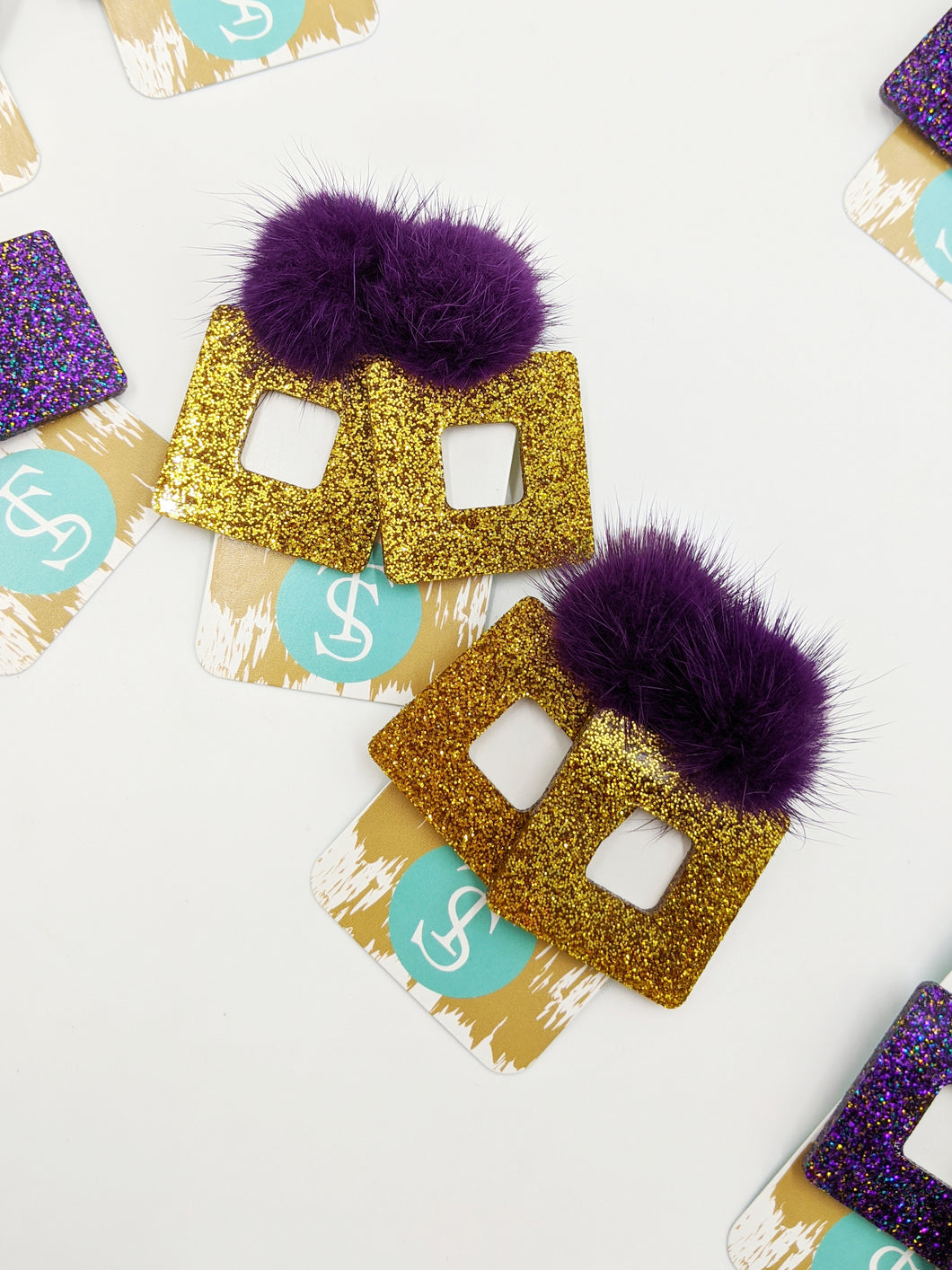 Gold Glitter Earrings/Purple Puff