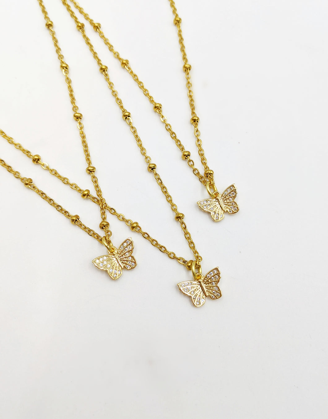 Stainless Steel Gold Chain Dainty Butterfly Necklace