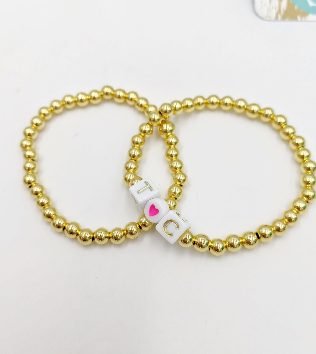 Gold Beaded Plain Layering Bracelet