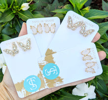 Load image into Gallery viewer, CZ Butterfly Studs | Gold/Silver