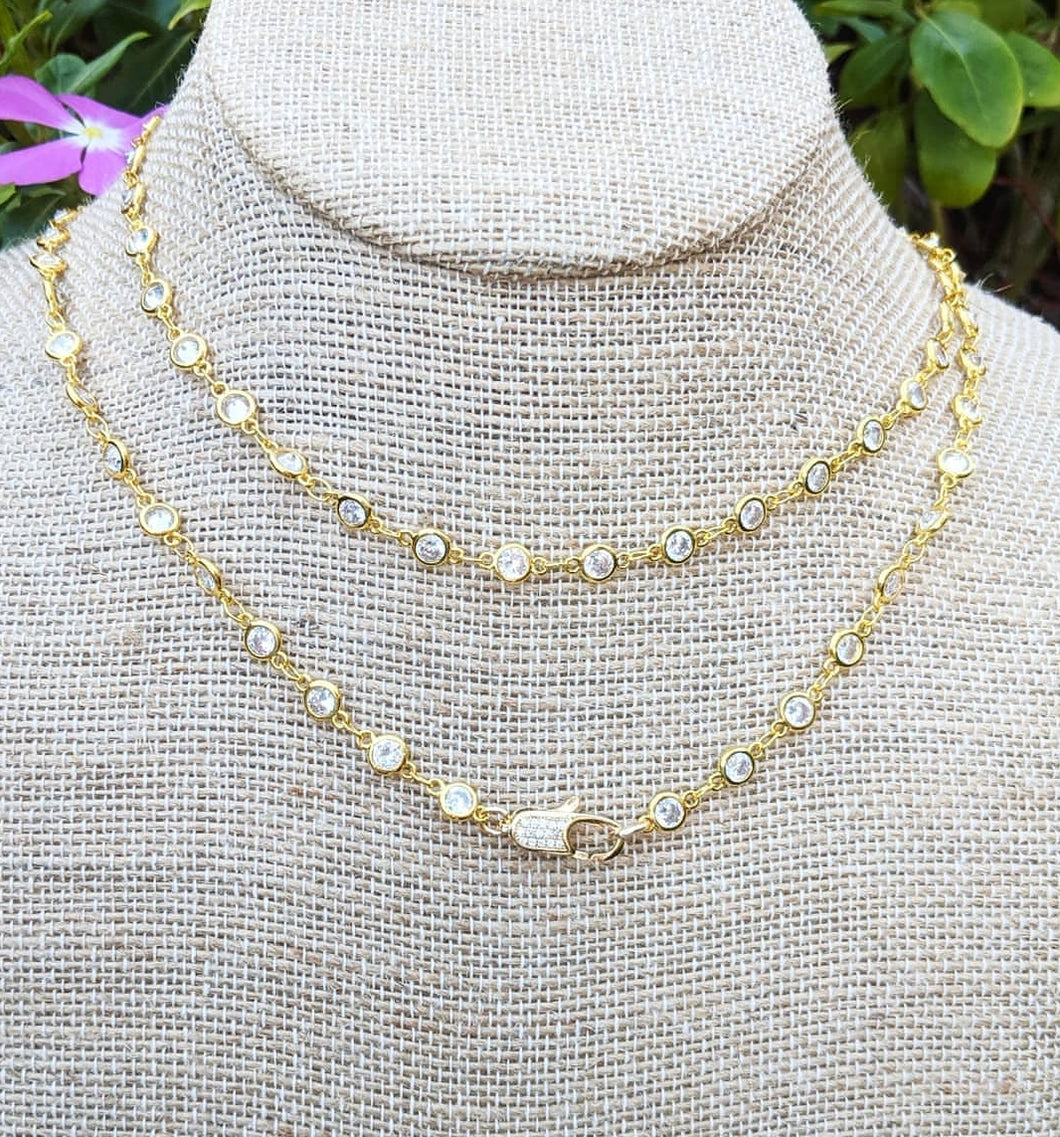 Luxe Dainty Double CZ Wrap Necklace