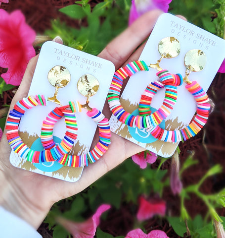 Rainbow bead hoops