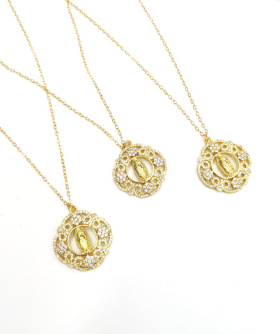 Mother Mary round dainty filigree necklace
