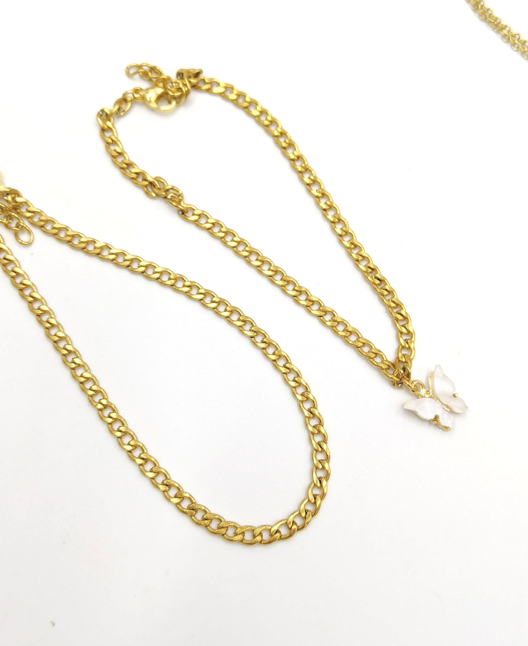 Dainty Stainless Steel Gold Cuban Link/White Butterfly Anklet