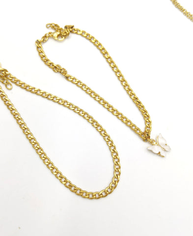 Dainty stainless steel gold cuban link / white butterfly anklet