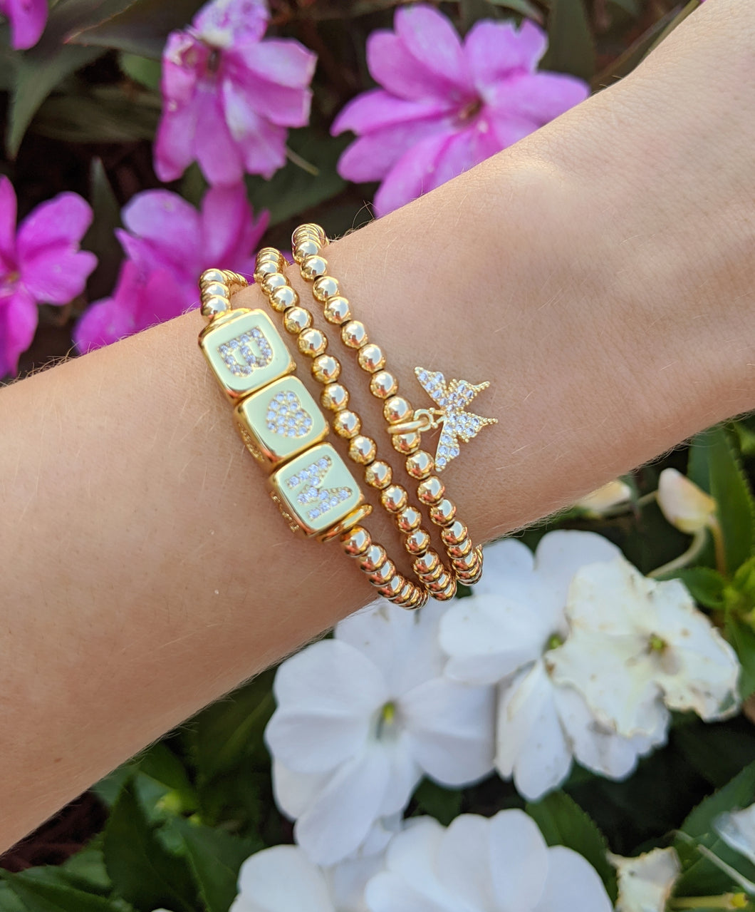 Gold Filled Beaded Initial Bracelet