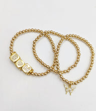 Load image into Gallery viewer, Gold Filled Beaded Initial Bracelet