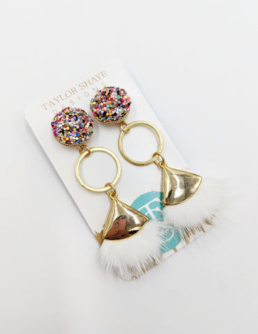 Rainbow white tassel drops