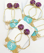 Load image into Gallery viewer, LSU Glitter Hoops
