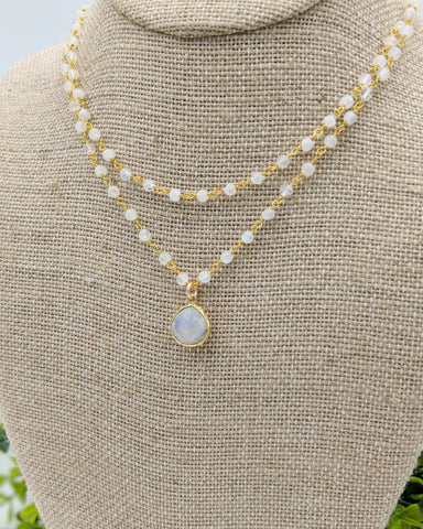 Double wrap moonstone chain with moonstone pendant