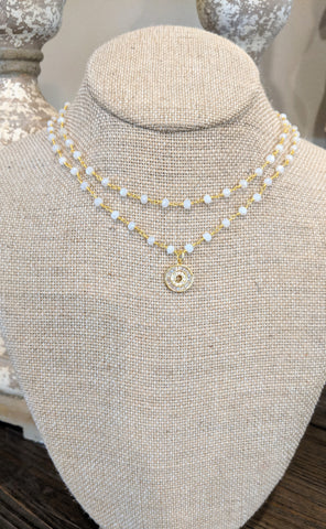 White crystal double wrap choker with round pendant
