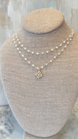 Double Chain moonstone Rosary Choker with greek cross