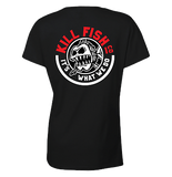 "KILLFISH CO. Women's ""Round"" Logo Black V-Neck T-Shirt"