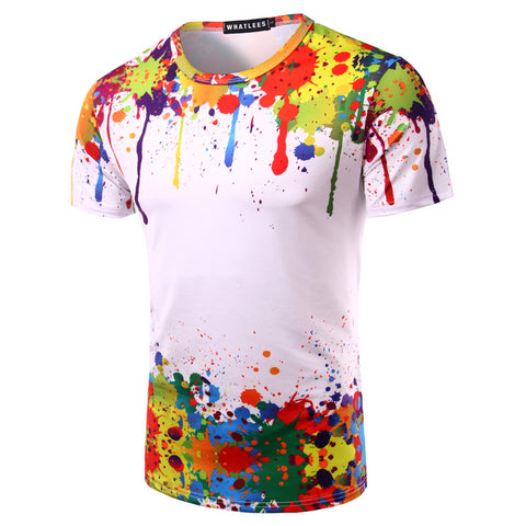 2017 Summer Men 3D T Shirt Print Ink Graffiti Splashed Paint Short Sleeve Hip Hop Camisetas Hombre Mens Tee Shirt Homme