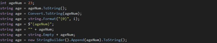 C# - Convert int to string