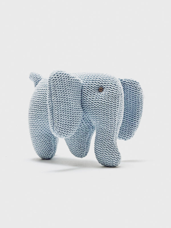Cotton Elephant Rattle - Blue - Berry & Blossoms