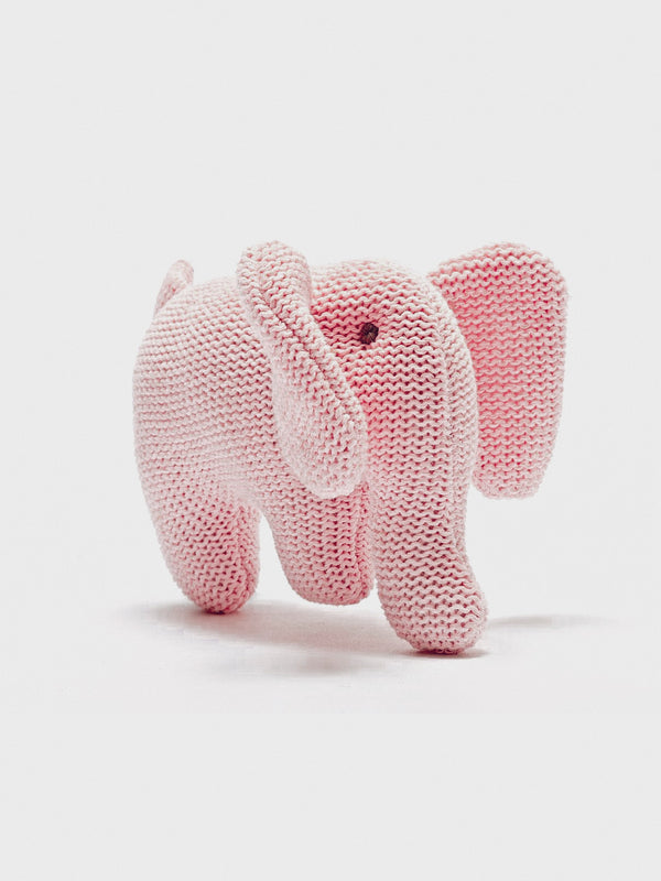 Cotton Elephant Rattle - Pink - Berry & Blossoms