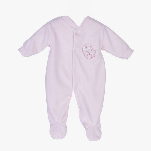 Pink Teddy Velour Sleepsuit - Berry & Blossoms