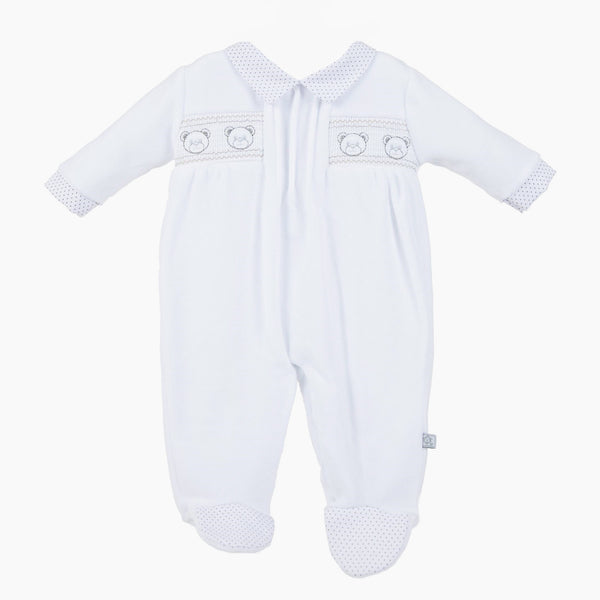 White Baby Bear Smock Sleepsuit - Berry & Blossoms
