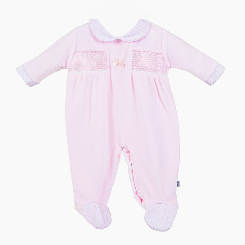Pink Flower Smock Sleepsuit - Berry & Blossoms