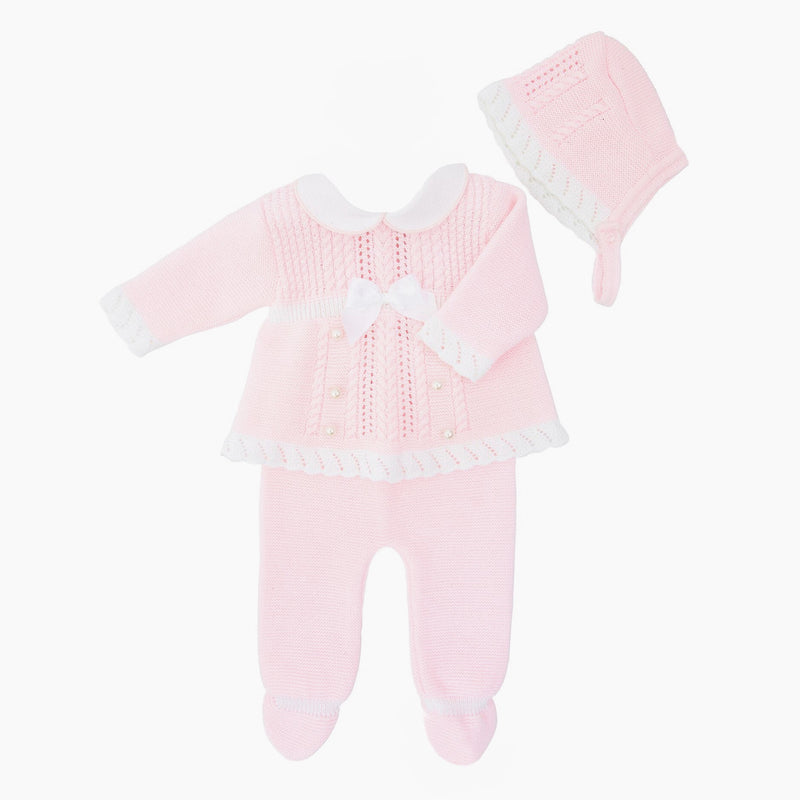 Pink Buttons & Bow 3 Piece - Berry & Blossoms