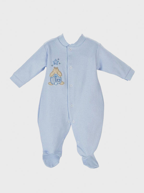 Ribbed Cotton Sleepsuit - Blue - Berry & Blossoms