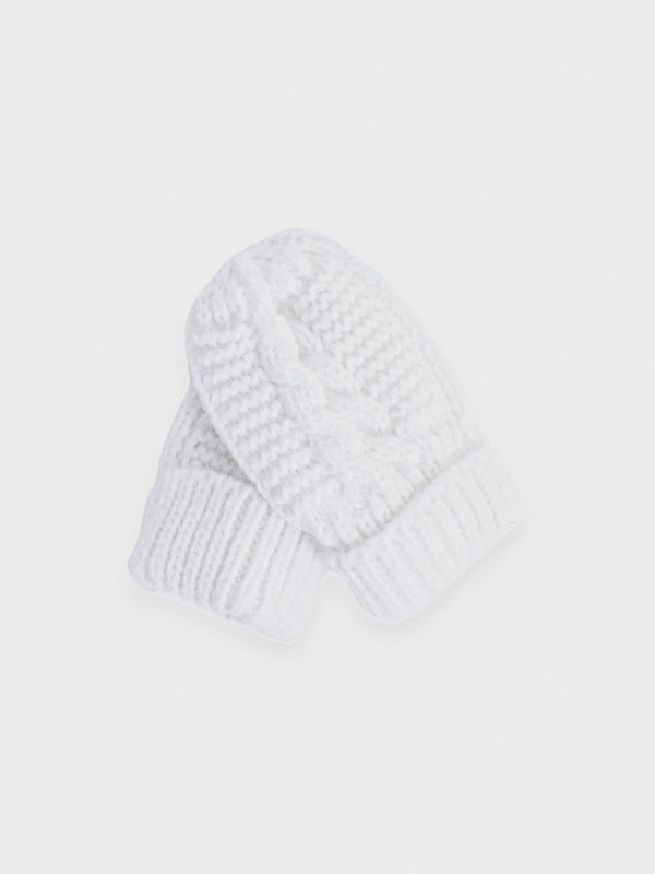 Knitted Mittens - White - Berry & Blossoms