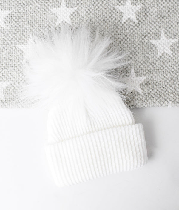 First Size Ribbed Pom Hat - White - Berry & Blossoms
