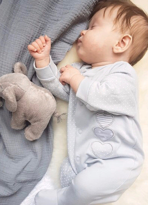 Triple Heart Babygrow - Grey - Berry & Blossoms