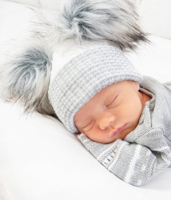 First Size Double Stripe Pom Hat - White/Grey - Berry & Blossoms