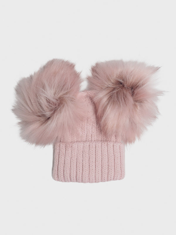 Knitted Double Pom Hat - Dusky Pink - Berry & Blossoms