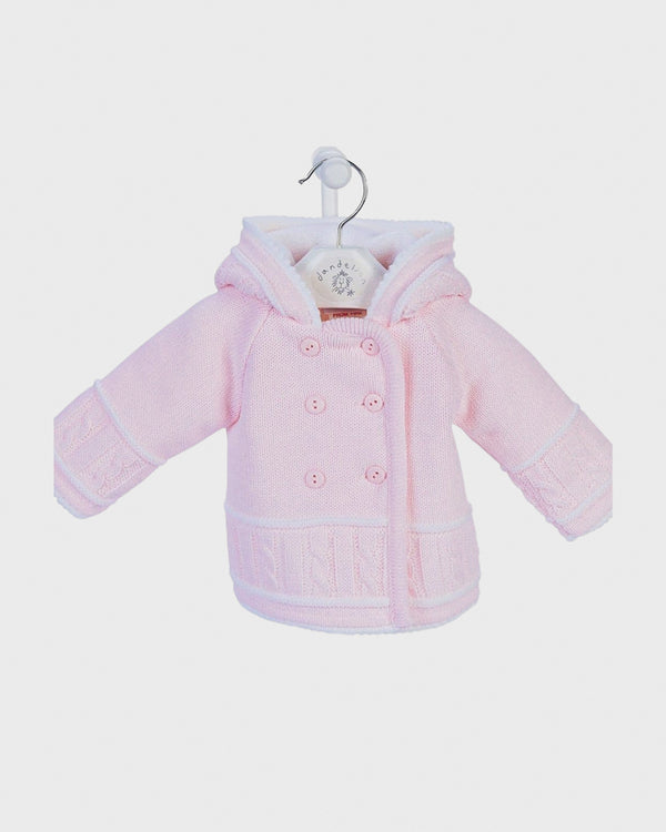 Knitted Hooded Jacket - Pink - BERRY & BLOSSOMS