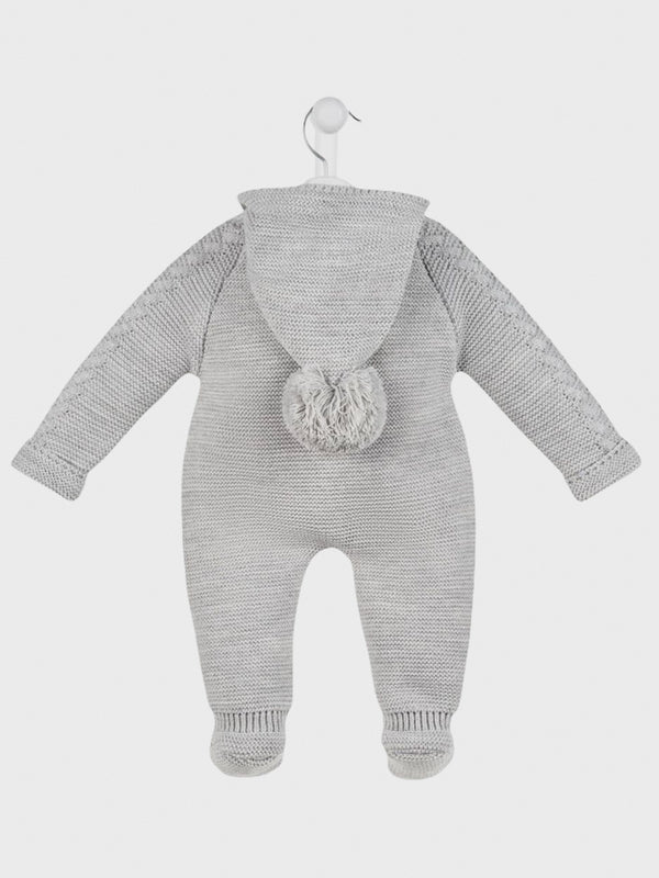 Cable Knitted Pramsuit - Grey - BERRY & BLOSSOMS