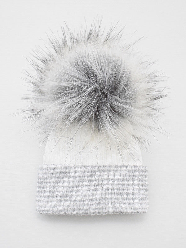 First Size Stripe Pom Hat - White/Grey - Berry & Blossoms