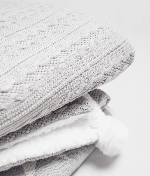 Cable Knitted Pom Blanket - Grey - Berry & Blossoms