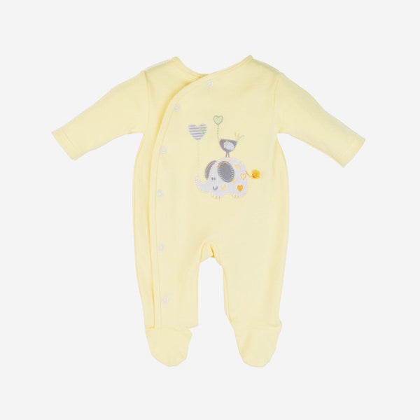 Unisex Lemon Elephant Babygrow - Berry & Blossoms