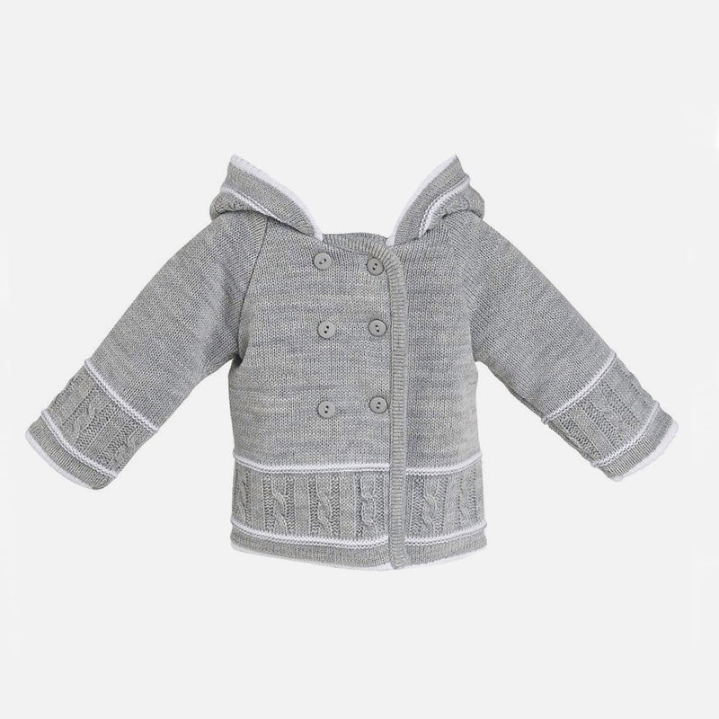 Knitted Hooded Jacket - Grey - Berry & Blossoms