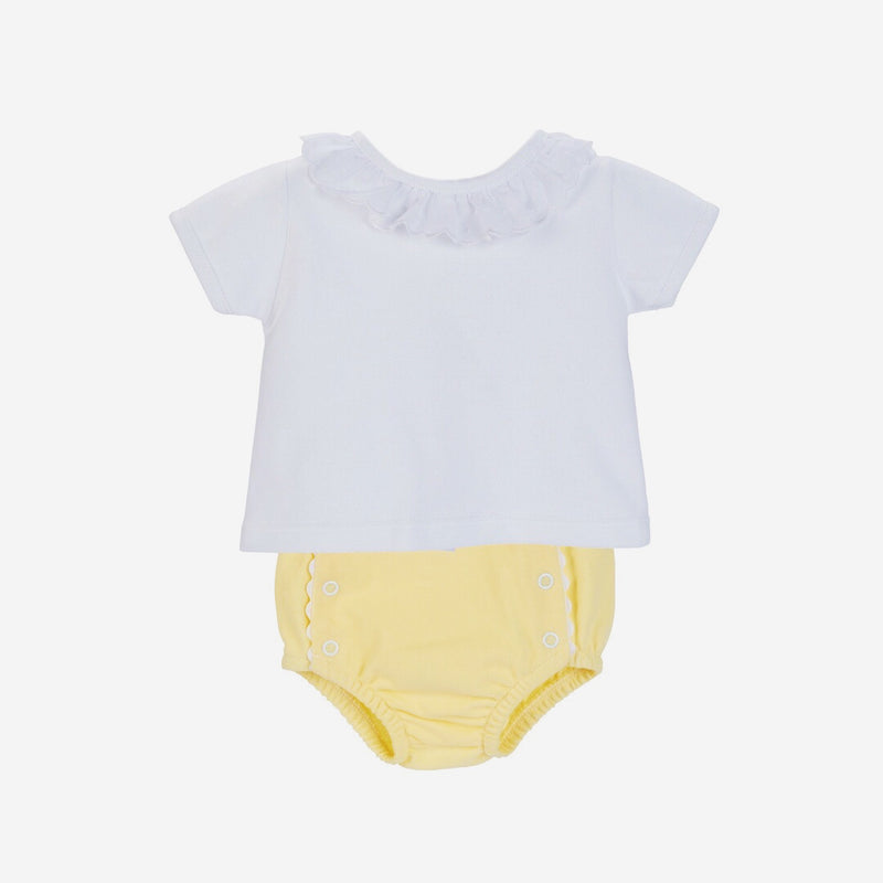 Cotton Pique Top & Pants - White & Lemon - Berry & Blossoms
