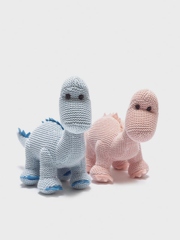 Knitted Pink Dino Rattle - Berry & Blossoms