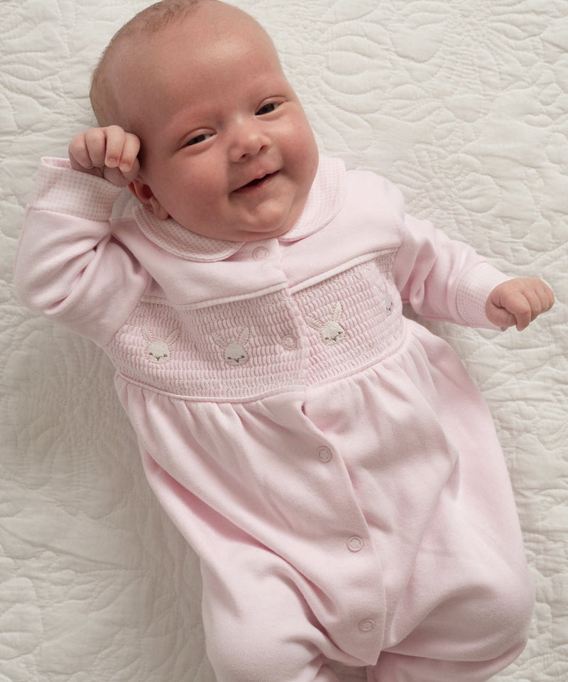 Pink Smocked Bunny Sleepsuit - Berry & Blossoms