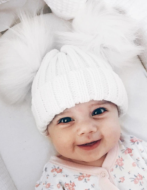 Knitted Double Pom Hat - White - Berry & Blossoms