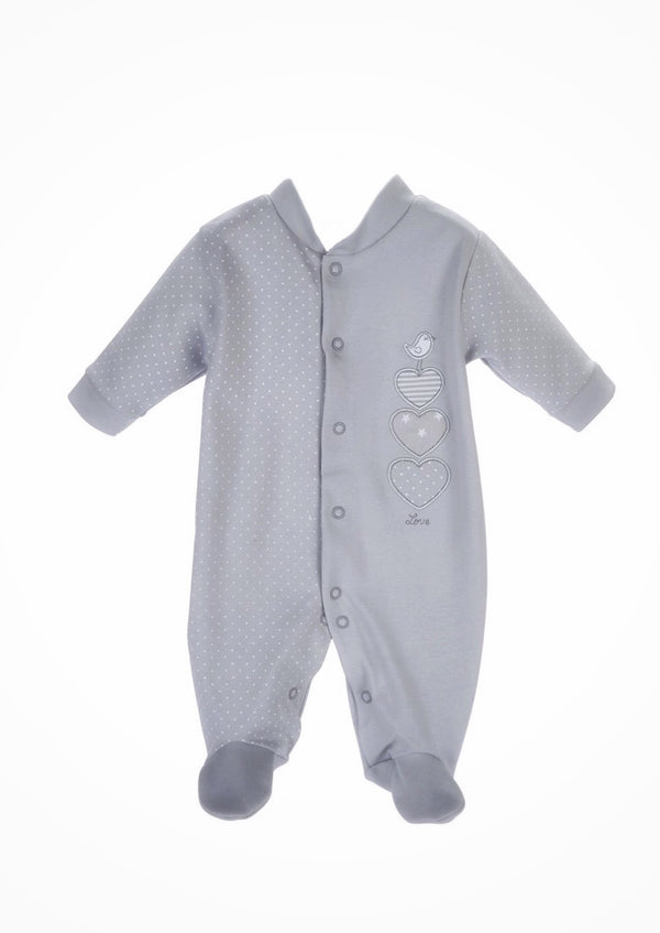 Cotton Triple Heart Babygrow - Grey - Berry & Blossoms