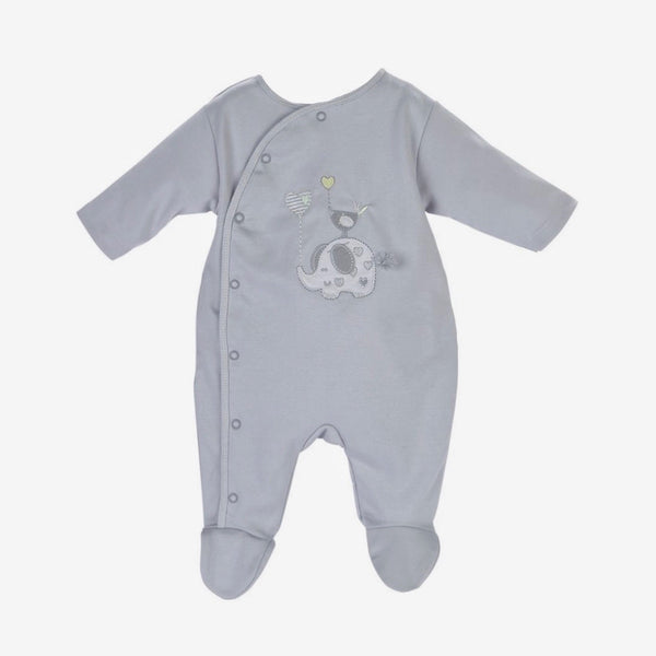 Grey Elephant Babygrow - Berry & Blossoms