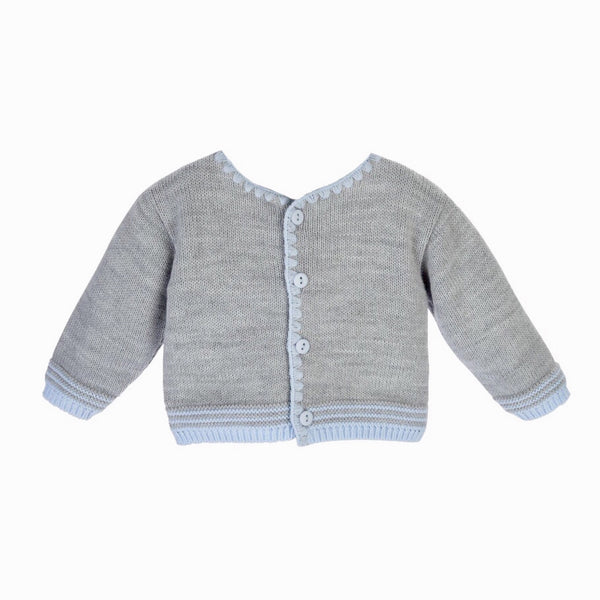 Grey Knit Cardigan With Blue Trim - Berry & Blossoms