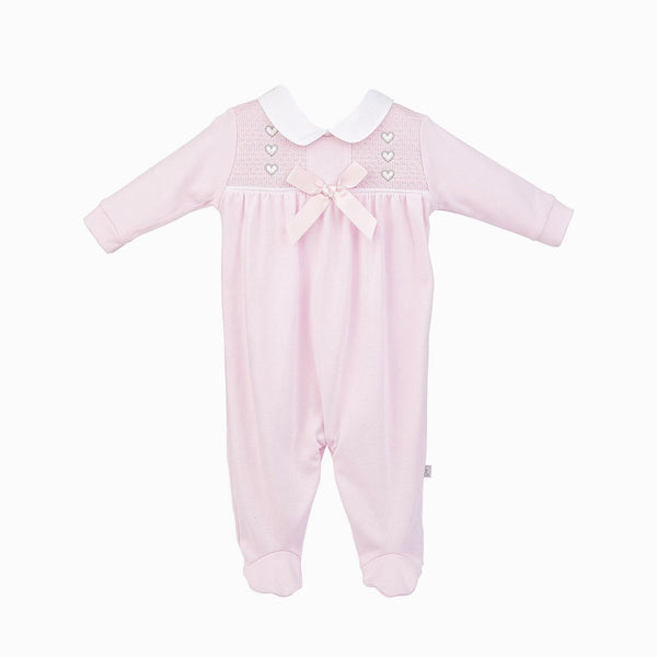 Dandelion Pink Heart And Bow Smocked Cotton All In One - Berry & Blossoms